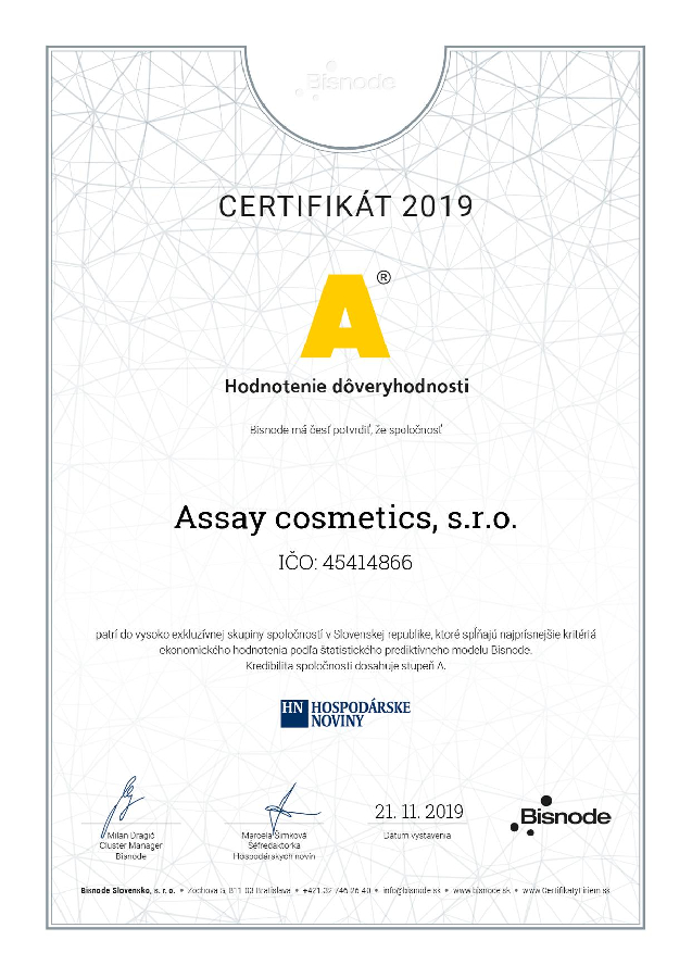 Certifikat Assay Comestics s.r.o.